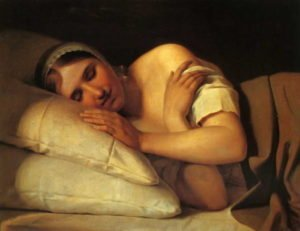 Painting of sleeping girl